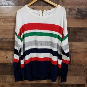 Crown & Ivy NWT striped back zip sweater